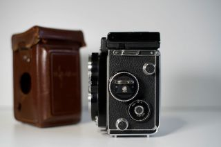 RARE Rolleiflex 3.  5 F White Face 12/24 with meter,  caps,  case 2