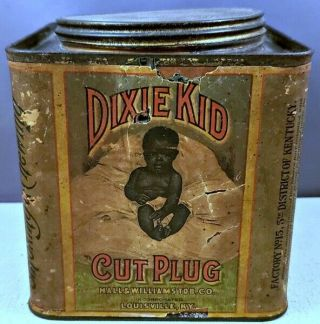 "Antique Black Americana 4 3/4"" Square Dixie Kid Cut Plug Tobacco Tin Screw Top"