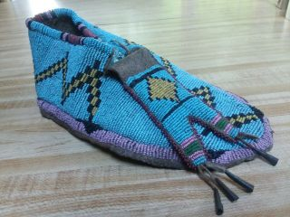 19th C.  Antique Native American Plains Indian Sioux Beaded Single Moccasin Old