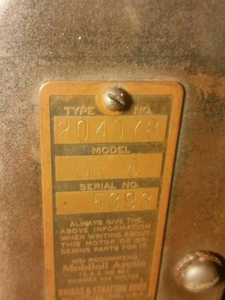 Antique Vintage Briggs & Stratton Model UR - 6 Engine Gas Motor Rare 3