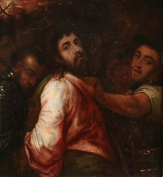 Michiel Coxie (1499 - 1592) Rare Flemish Oil On Copper Panel - Arrest Of Christ