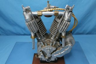 Very Rare Indian Motorcycle Little Indian 1/2 Scale V Twin Engine Tom Sieber