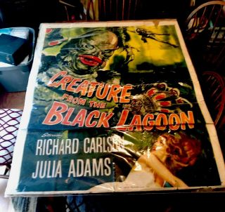 CREATURE FROM THE BLACK LAGOON CARLSON ADAMS - LARGE MOVIE POSTER Rare 2