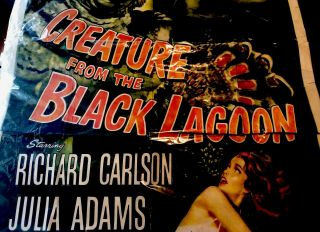 CREATURE FROM THE BLACK LAGOON CARLSON ADAMS - LARGE MOVIE POSTER Rare 4