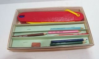 Hard Plastic Figural Pen Knife Shaped Pencil Case Box Vintage C.  1950