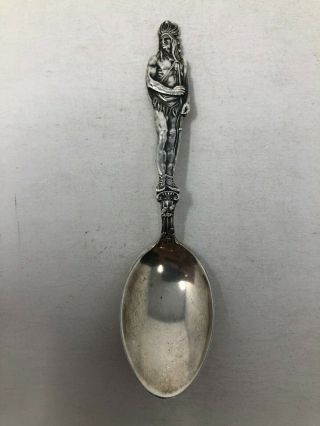 Watson Sterling Silver Souvenir Spoon Full Figural Standing Indian