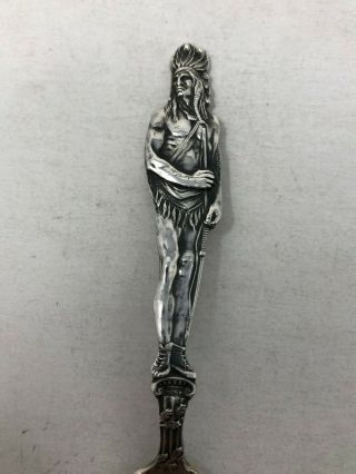 Watson Sterling Silver Souvenir Spoon Full Figural Standing Indian 2