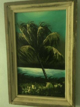 Very Rare And Early Florida Highwaymen Painting On Upson Board