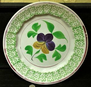 Antique Stick Spatter Spatterware Plate,  4 - Color,  Pansy Pattern,  19th C.