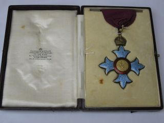 Rare Ww1 Cbe Sterling Silver/guilloche Enamel Medal With Case Garrards Of London