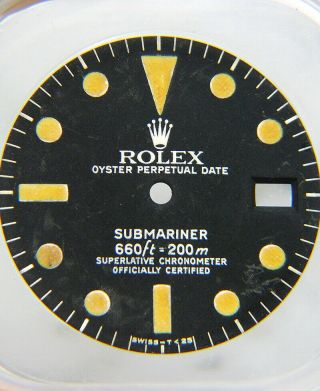 Rare Vintage Rolex Submariner 1680 Matte Black Pumpkin Watch Dial 1970
