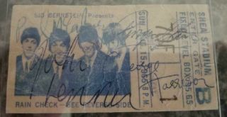 1965 The Beatles Signed Concert Ticket Stub - Rare Shea Stadium Show Paul & John