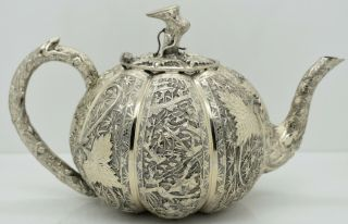 Chinese Export Silver Pumpkin Teapot.  Battle Scenes.  Dragon Spout.  Signed C1900