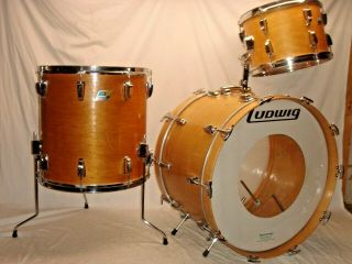 Gorgeous Vintage 1969 Ludwig 3 - Pc Maple Thermogloss - Classic Drum Outfit