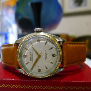 Mens Vintage Rolex Oyster Perpetual 6085 Stainless Steel Gold Watch Circa 1953