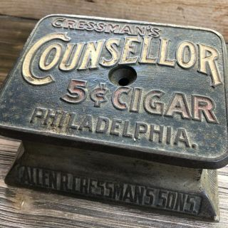 Vintage Antique Cast Iron Countertop Advertising Key Wind Up Cigar Cutter
