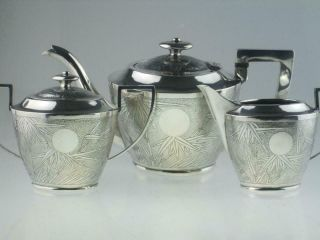 Large Antique Chinese Solid Silver Teapot Set Circa 1900