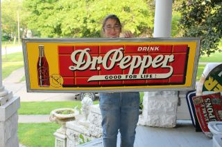 "Large Vintage C.  1940 Dr Pepper Soda Pop Gas Station 54 "" Embossed Metal Sign"