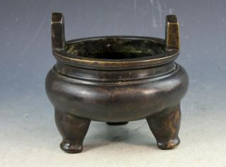 Antiqu.  15thc Chinese Ming Dynasty Bronze Incense Burner With Marked