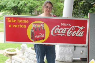 "Rare Large Vintage 1938 Coca Cola Soda Pop Bottle 54 "" Embossed Metal Sign"