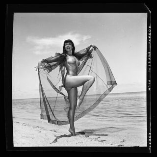 RARE Bettie Page 1954 Camera Negative Photo Bunny Yeager Nude Pin Up 2