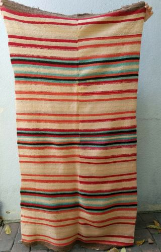 "Rare Antique 1890 Rio Grande Banded Wearing Blanket 80 "" X 40 "" Wool"