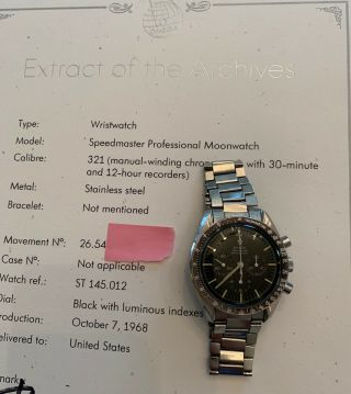 Vintage Omega Speedmaster 145.  012 - 67,  Hf Case,  321 With Archive