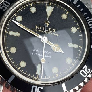 Vintage Rolex Submariner Dive Wristwatch Ref.  5513 RARE GILT SILVER EXCLAMATION 6