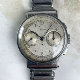 Vintage Longines 13zn Chronograph Wristwatch 35mm Pulsarions Dial Hooded Lugs Nr