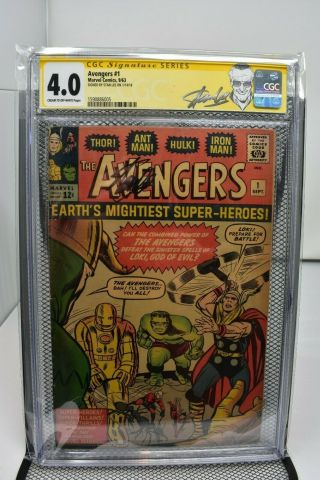 The Avengers 1 Cgc 4.  0 Stan Lee Signature Series Marvel Comics 1963 Rare Loki