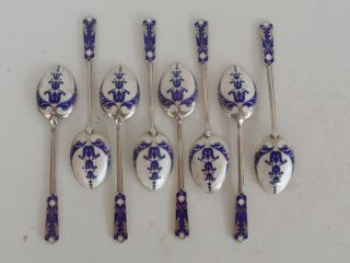 Set 8 Garrard & Co English Sterling Silver Guilloche White Blue Enamel Teaspoons