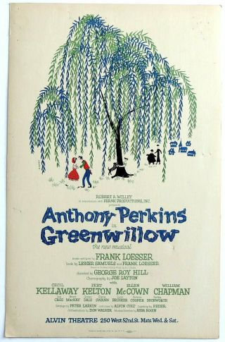 Triton Offers Rare Orig 1960 Broadway Poster Greenwillow Anthony Perkins Musical