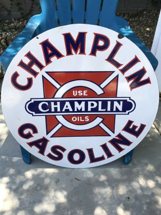 Vintage Porcelain Champlin Oil Gasoline Sign Gas 30 Inch Size