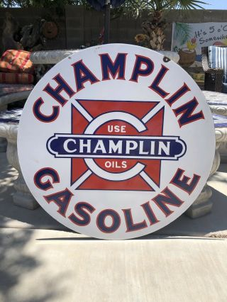 Vintage Porcelain Champlin Oil Gasoline Sign Gas 30 Inch Size 2