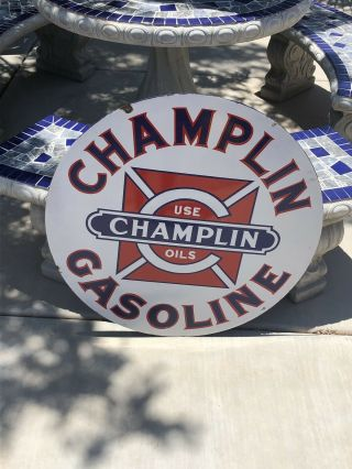 Vintage Porcelain Champlin Oil Gasoline Sign Gas 30 Inch Size 3