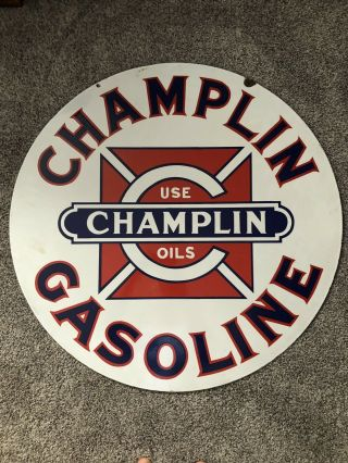 Vintage Porcelain Champlin Oil Gasoline Sign Gas 30 Inch Size 4