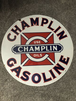 Vintage Porcelain Champlin Oil Gasoline Sign Gas 30 Inch Size 5