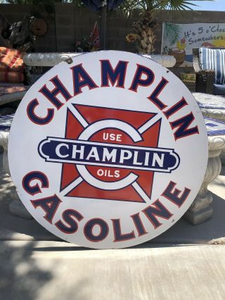 Vintage Porcelain Champlin Oil Gasoline Sign Gas 30 Inch Size 6