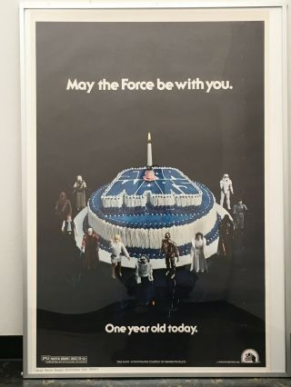 "Star Wars / Vtg Poster 1978 / "" May The Force Be With You  One Year Old Today """