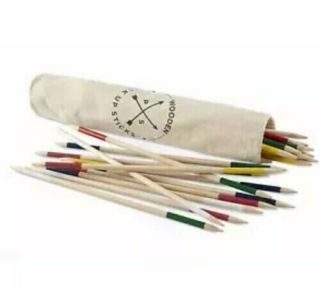 American Vintage Jumbo Wood Pick Up Sticks Family Game Carrying Bag Gift