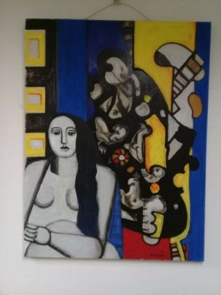 Fernand Léger - Oil On Canvas Painting / Vtg Painting Attributed