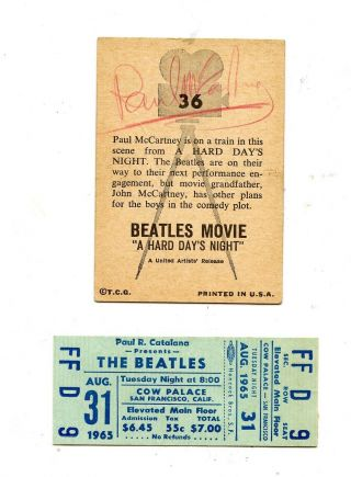 Beatles Ticket 1965 Mccartney Signed Card 1976 Vintage Photo & More