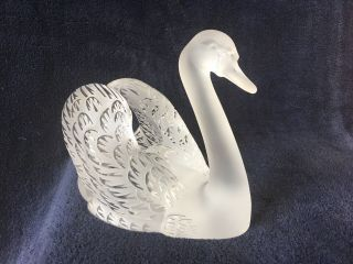 Lalique Crystal Swan (head Up) ; Signed Vintage,
