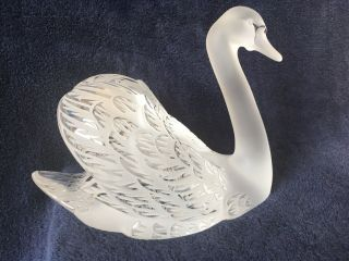 lalique crystal swan (head up) ; signed vintage, 5