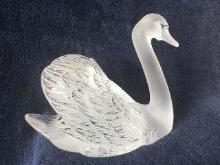 lalique crystal swan (head up) ; signed vintage, 7