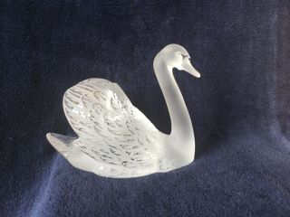 lalique crystal swan (head up) ; signed vintage, 8