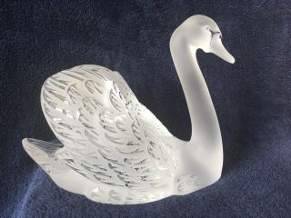 lalique crystal swan (head up) ; signed vintage, 9