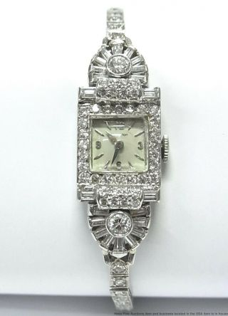 Platinum 3.  50ctw Diamond Hamilton Cocktail Watch 26.  2gr Mega Art Deco Vintage