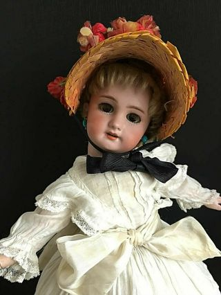 Antique Early Dep Jumeau Bebe W All Cork Dress Bonnet Pierced Ears 15 ""