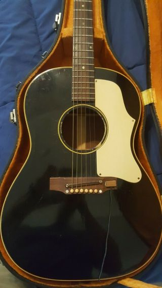 1968 Gibson J - 45 Acoustic Guitar Vintage Rare Black Ebony W/ White Pick Guard